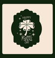 emblem happy saint patricks day with clover of vector image vector image