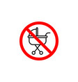 forbidden baby carriage icon can be used for web vector image vector image