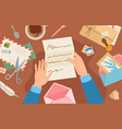 hands holding mail on desk woman reading paper vector image vector image