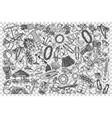 hawaii doodle set vector image