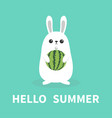 hello summer white bunny rabbit holding whole vector image vector image