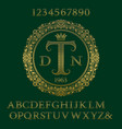 lattice patterned letters numbers with monogram vector image