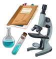 Microscope vials and journal for notes vector image vector image