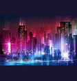 night scene of city with vector image