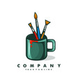 painting logo design with mug and brush concept vector image