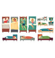 people sleeping in beds adult man in bed asleep vector image vector image