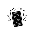 phone call black icon sign on isolated vector image