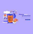 phone data protection web template background vector image