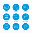 Printer wi-fi router and projector icons vector image vector image