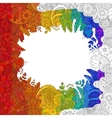 Rainbow flower doodle pattern vector image vector image
