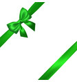 realistic green bow with green ribbons isolated vector image vector image