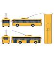 realistic yellow trolleybus vector image vector image