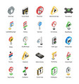 road directions isometric icons pack vector image