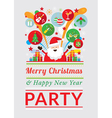 santa claus with party icons vector image vector image