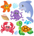 sea fishes and animals collection 3 vector image