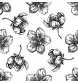 Seamless pattern with black and white sakura