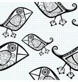 seamless pattern with cartoon birds vector image