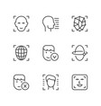 set line icons of face id vector image vector image
