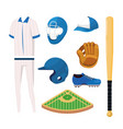 set professional baseball sport uniform vector image vector image