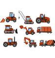 set tractors and excavators hand drawn cartoon vector image