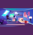 teenager room on attic cartoon interior vector image vector image