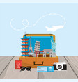 travel briefcase with journey place destination vector image vector image