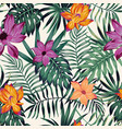 vivid flowers tropical leaves seamless pattern vector image vector image