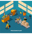 waste recycling factory composition vector image vector image