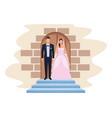 wedding couple in chapel door vector image vector image