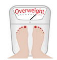 woman feet on a weight machine overweight vector image
