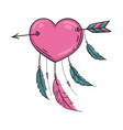 indian heart with arrow and ornament vector image