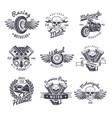 vintage monochrome motorcycle labels set vector image
