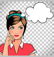 thinking woman in pop art style vector image