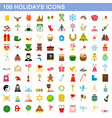 100 holidays icons set flat style vector image vector image