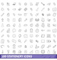 100 stationery icons set outline style vector image vector image