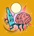 alcohol versus intelligence a bottle of beat the vector image vector image