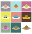 assembly flat icons women hat vector image vector image