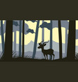 background scene with silhouette gazelle in forest vector image