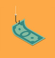 banknote on fishing hook over yellow background vector image