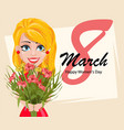 beautiful lady holding a bouquet of flowers vector image