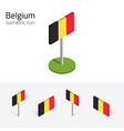 belgium flag set of 3d isometric icons vector image