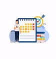 businessman with a phone have a calendar plan can vector image vector image