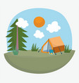 camping tent backpack tree grass sun vacations vector image vector image
