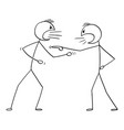 cartoon two angry men arguing or fighting vector image vector image
