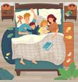 children sleep in parents bed co-sleeping with vector image vector image