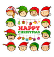 Christmas card with people wearing party hats vector image vector image