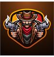 cowboy esport mascot logo design vector image