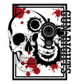 design with firearms hand with gun human skull vector image