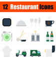 Flat design restaurant icon set vector image vector image