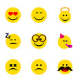 flat icon face set of smile love angel and other vector image vector image